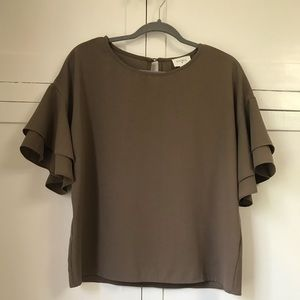 Taupe blouse with flutter sleeve, size small